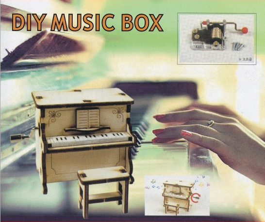 Wooden music box Toy assembly for children Hand piano Creative ornaments Handicraft music box