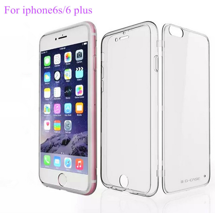 G-CASE Transparent TPU PC Flip Full Body Protector Case For iPhone 6s 6 Plus