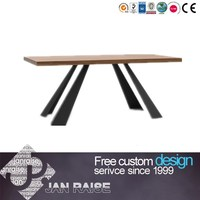 Wood top metal frame modern dining table set, dining table and chair