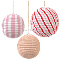 Foldable Round Watermelon Wedding Hanging Paper Lantern