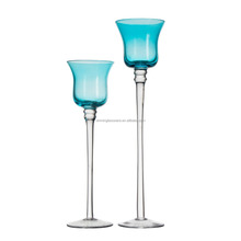 Handmade blue long-stemmed glass candle holder