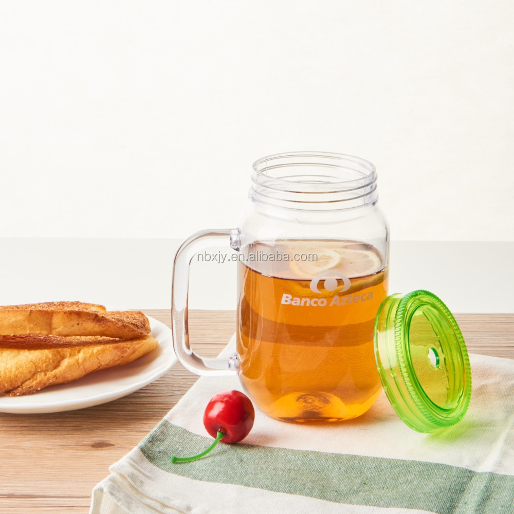 single wall plastic mason jar with handle