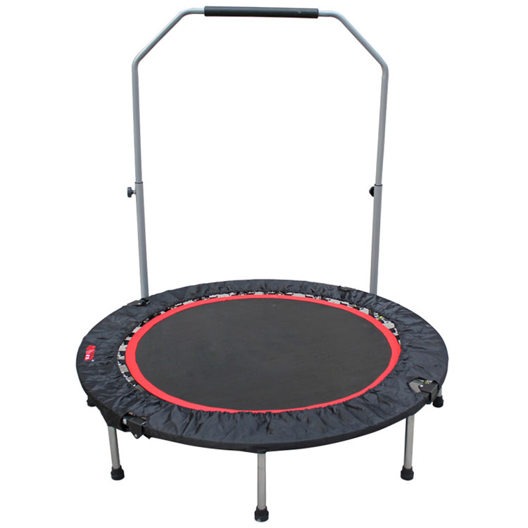 Factory wholesale indoor mini portable fitness trampoline with safety handle bar