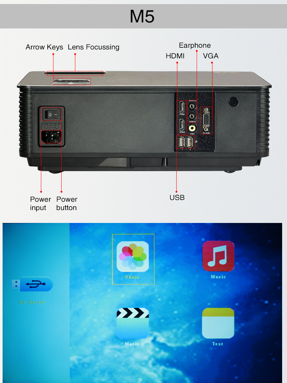 Poner Saund M5 LCD LED Projector 5500 Lumen Built-in Android 6.0 WiFi BT Full HD Projector 1080P HD VGA USB Proyector