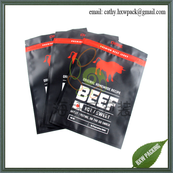 resealable aluminum foil moisture proof custom beef jerky packaging bags