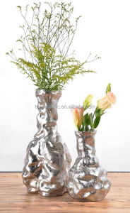 Modern classic hand made special ornamental ceramic plating flower vase Gold and Silver