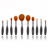 2016 New Professional 10 Pcs Soft Oval Toothbrush Makeup Brush Sets Makeup Cosmetics Tool Set