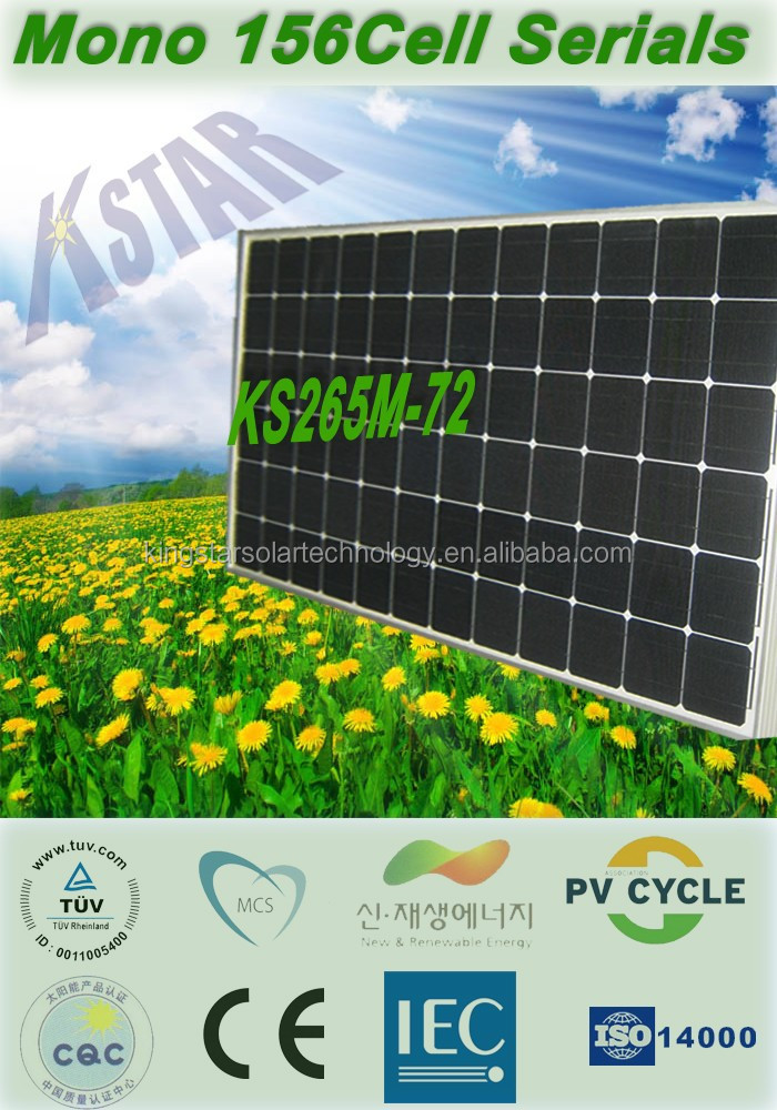 China suppliers PV manufacturer TUV CE 265w 270w 280w 290w 300w 310w mono solar panel for solar system home