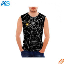 Men's 3D Sublimation Print White Spider Web 95%polyester 5%spandex Sleeveless tee Men Tshirt tshirt