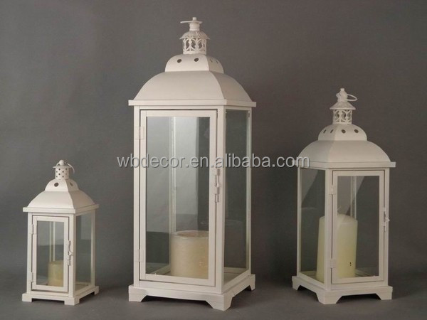 Gifts & Decor Large Contemporary Table Top Metal Candle Holder Lantern