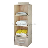 Hanging Inside Wardrobe Storage,4 Shelf Polyester Closet Organizer With Drawer, (Apricot)