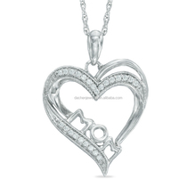 Women Shiny 925 Silver Heart Necklace Fashion Jewelry Gift for Mom