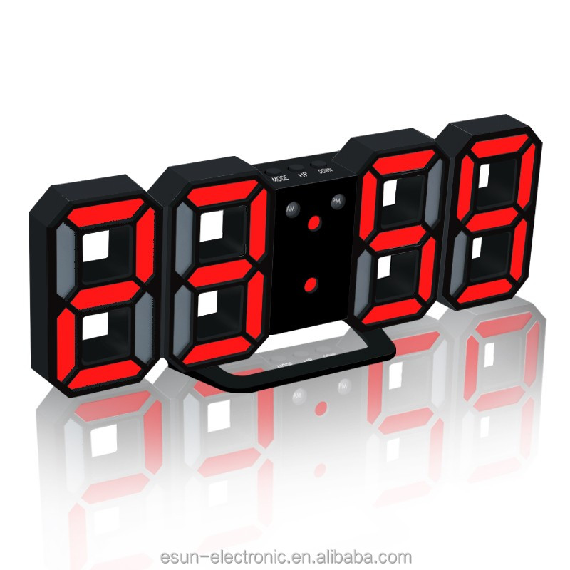 Unique Digital Ultronic Weather Station 3D LED Wall hanging Table Alarm Clock