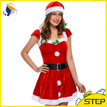 Merry Christmas Girl Red Dress with Hat Costumes