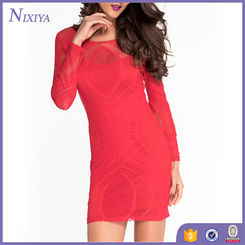 Red Color Long sleeve Sexy Short Mini Dresses For Ladies