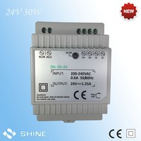 24v 30w constant voltage led driver 12 vdc single output din rail power supply with 2 years warranty