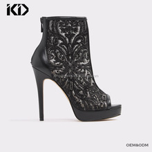 Sexy women stiletto booties online China factory lace upper short boots wholesale platform black open toe booties