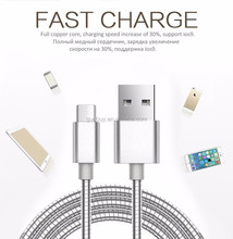 1m/3ft fast charging cable Luxury metal usb cable for iphone 7/7plus/6/6s/5s