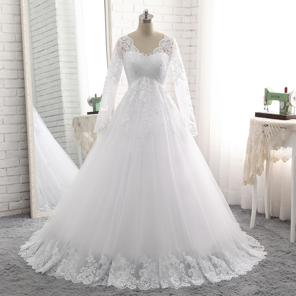 Long Sleeve V Neck A Line Bridal Gowns 2018 Lace New Pregnant Woman Maternity Wedding Dresses