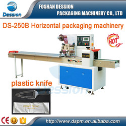 Small business horizontal flow plastic knife packing machine
