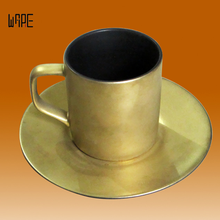Factory Outlet Retro Coffee Cup Ceramic Plating Creative Coffee Cup Plate Gold Custom Logo