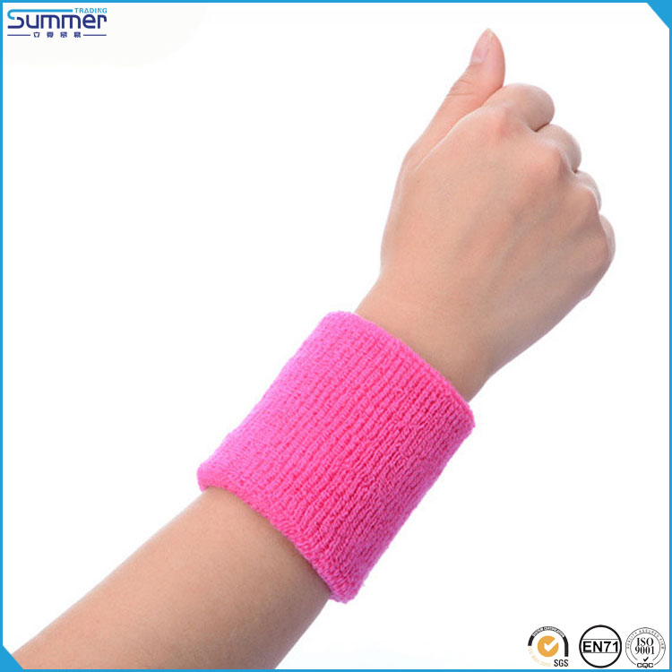 Summer Trading High Quality Pink Color Tennis Sweat Band Sports Cotton Sweatband