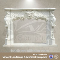 Stone fireplace mantel white marble fireplace VFM-NC002