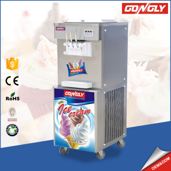 Ice Cream 8 level Hardness adjustment Big power frozen yogurt ice cream machine with canopy / cone holder