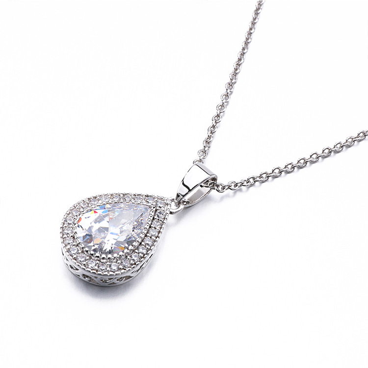 New product Austrian stainless steel white cznatural handmade crystal necklace  with cable chain
