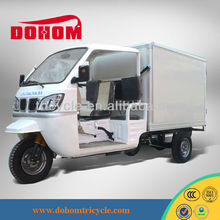 Cheap semi cabin tuk tuk motorized tricycle with closed box