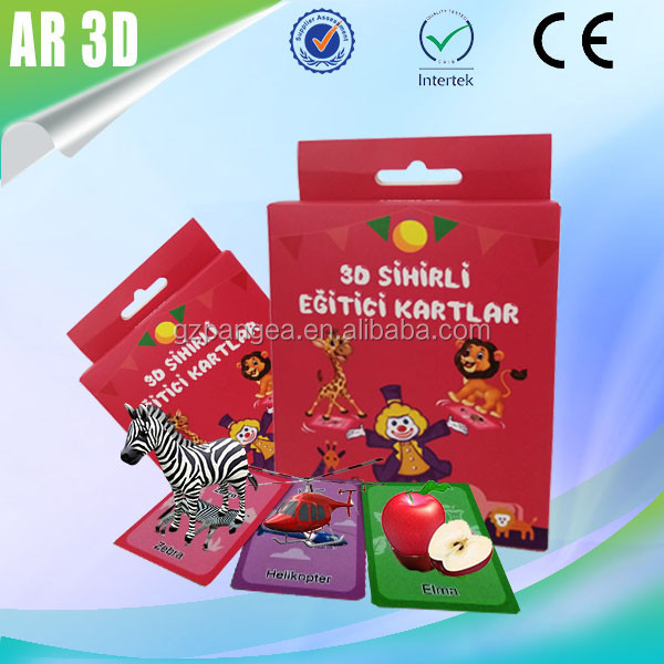 Alibaba China Supplier 3D AR Animal Flash Cards Preschool Educational Toys For Kids Augmented Reality Toy