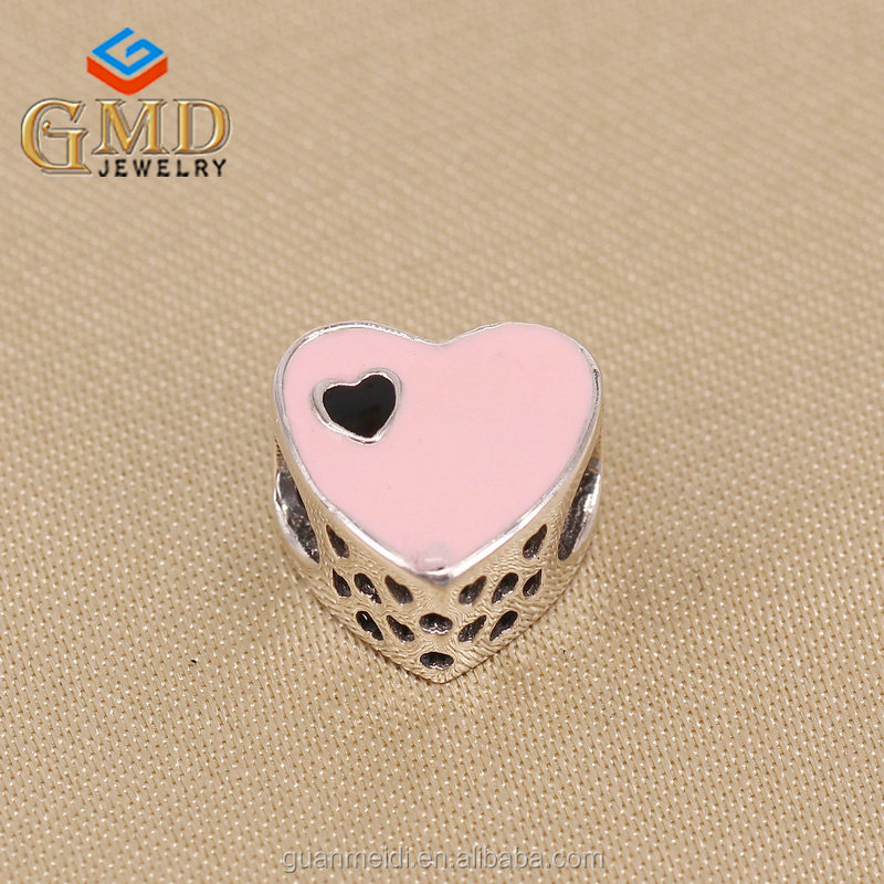 Latest fashion trends wholesale charm silver 925 red heart shaped beads