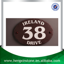 Factory Direct Sales Handmade Natural Edge 18*12*0.5cm Oval Grooved Printed Decorative Slate House Door Sign