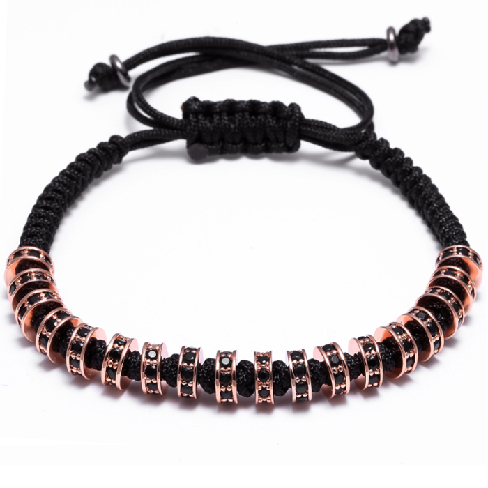 Men Jewelry High Quality cubic fashion Luxury Rope Bracelet Adjustable Micro Pave Zirconia Bracelet
