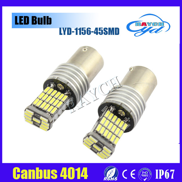 Canbus Error Free 850LM 1156 P21W BA15S 4014 45SMD Decoder Lamp Canbus Bulb Reverse Turn Signals Lights With Resistor LED Lamp