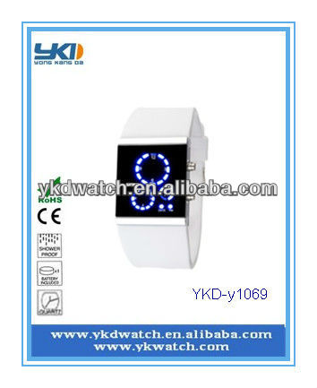 leasted design fashion white color strap LED wrise watch