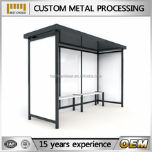 outdoor metal bus stop shelter with light box, free standing lockable aluminum bike sheds