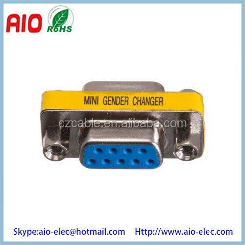 Low Profile Port Saver D-SUB9 Female to Female Mini Gender Changer/Coupler Adaptor Connector