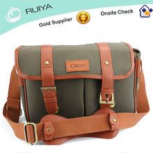 Canvas and PU leather Camera Bag Brand camera pouch in Canvas multifunctional messenger bag with camera holder-JC8133