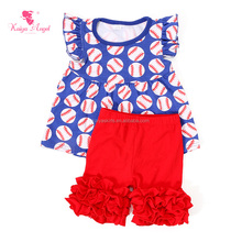 Boutique remake clothing sets baseball tee shirts wholesale children clothes