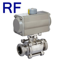 RF Sanitary Stainless Steel Pneumatic 3 pc Ball Valve With Spring Actuator