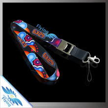 digital print custom lanyards no minimum order with logo with thumb hook, cell phone string