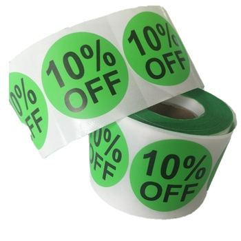 "10% Percent Off vinyl Stickers - Hot Green and Black 2"" Sale Labels - 500 Per Roll"