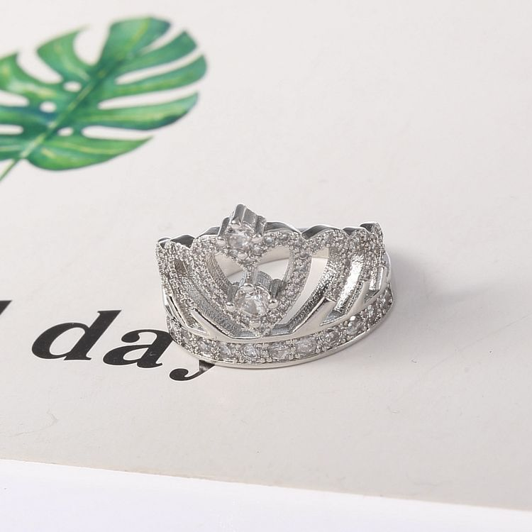 New Fashion Princess Style Hollow Heart Silver Alloy Rhinestone Crown Wedding Party Ring