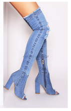 denim boots Over the knee Cut-out women Long Boots High Heels Sexy Thigh High Boots Jeans Denim Rome peep toe Sandal
