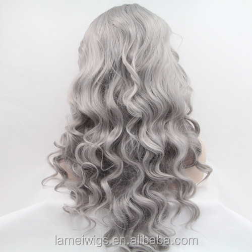 S0037 grey baeuty long curly lace front hair wigs without bangs ,high heat resistant fiber
