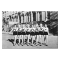 Women Wearing New York T-shirt Black and White Photo Canvas Printing Vintage Style Canvas Wall Art Ready to Hang