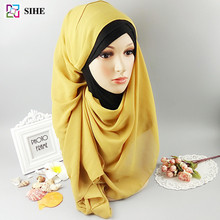 cheap pink chiffon scarf plain georgette hijab muslim scarf in 77colors