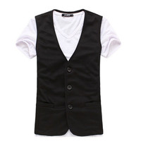 Freeshipping wholesale good quality slim fit 4 size for choice cotton and polyester mixed men vest