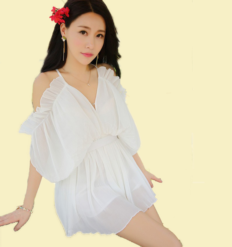 2015 Limited Summer Jumpsuits Fashion Monos Women Garment V-neck Light Rompers Spaghetti Straps Ruffles Outfits Macacao Feminino